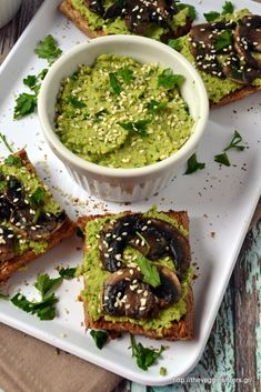 An awesome appetizer, a great finger food.  Mushroom pesto hummus bruschette