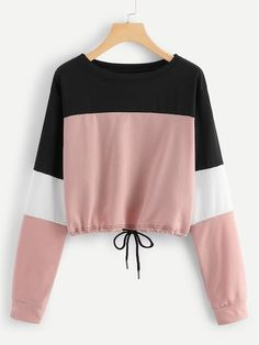 To find out about the Drawstring Hem Color Block Sweatshirt at SHEIN, part of our latest Sweatshirts ready to shop online today! Teen Fashion Outfits, Mode Outfits, Outfits For Teens, Girl Outfits, Fashion Clothes, Ootd Fashion, Stylish Clothes, Fashion Dresses, 40s Fashion