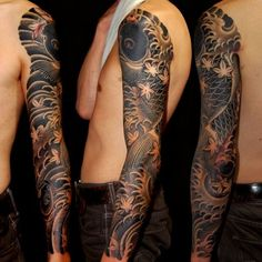 black and grey koi sleeve - Google-haku