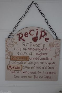 Friend Friendship Plaque Sign Recipe For Friendship Large