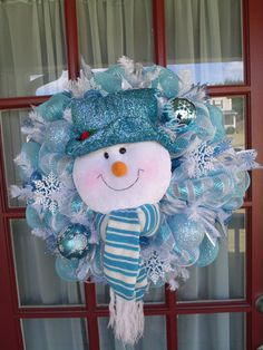 Christmas Light Blue, Turquoise and White Snowman Deco Mesh Wreath