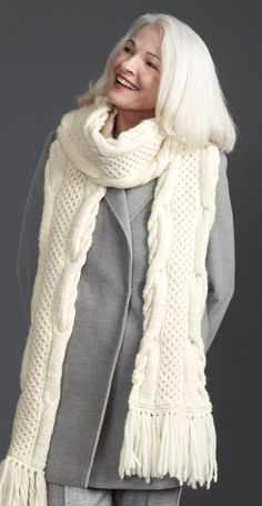 Free Knitting Pattern for Honeycomb Twist Super Scarf - An all-over cable pattern is framed by a cable braid edge in this scarf by Patons. Quick knit in bulky yarn.