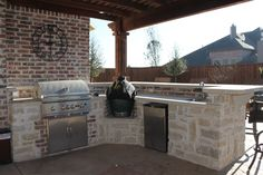 Outdoor kitchen with grill, smoker, refrigerator and sink. Get rid of smoker. Backyard Bbq, Patio, Built In Outdoor Grill, Bbq Equipment, Smoke Grill, Outdoor Sheds, Bbq Grill, Outdoor Projects, My Dream Home