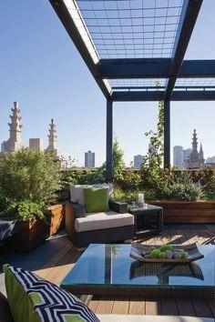 Pergola Ideas For Patio Rooftop Terrace Design, Rooftop Patio, Outdoor Balcony, Balcony Design, Patio Roof, Terrace Garden, Outdoor Rooms, Outdoor Living, Outdoor Decor