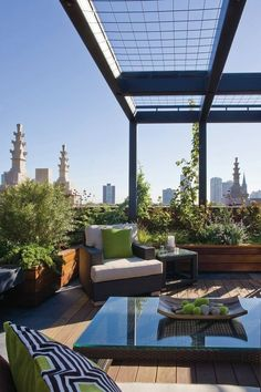 Successful Rooftop Transformation in Chicago: Planter boxes help to create an open, entertaining niche.