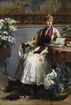 "Fanny Fluery (French, 1848-1920)  ""Donna che legge"""