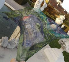 """Swansong"" - Silk scarf created by Stefanie Wilhelm, Rockitas Silks for the Contest to Stevie Nicks Competition Shawl..."