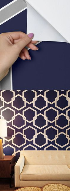 Temporary wallpaper: easily remove and reapply. Such an easy way to make a statement without the mess. http://rstyle.me/n/eezamn2bn