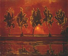 Trees by the Gein at Moonrise - Ver painting by Piet Mondrian. Vintage wall art for sale Piet Mondrian, Landscape Art, Landscape Paintings, Gropius Bau, Sunset Art, Dutch Painters, Painting Gallery, Dutch Artists, Art Moderne