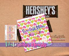INSTANT DOWNLOAD Mother's Day 1.55oz Printable Watercolor Hearts Candy Bar Wrapper - PDF digital file #mothers #day #candy #bar #chocolate #wrapper #diy #printable #watercolor #hearts #love #mom