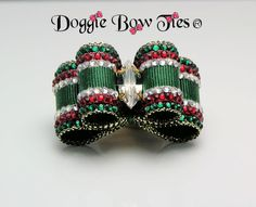 Dog Bows~Crystal Christmas Show Dog Bow from the Fabulous Fakes Doggie Bow Ties dog bows collection; featuring marquis crystal rhinestone center, and hunter green moiré satin ribbon, embellished with Swarovski elements: ruby, emerald, crystal.
