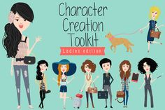 $15. Character creation toolkit - Ladies by Anna Ivanir on @creativemarket