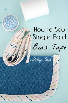 Learn to sew single fold bias tape to finish raw edges on necklines, etc. Video and photo tutorial for bias tape finishing. Sewing Tutorials, Sewing Hacks, Sewing Projects, Dress Tutorials, Sewing Tips, Sewing Ideas, Coat Patterns, Sewing Patterns, Skirt Patterns