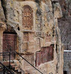 Cross stones in Geghard monastery Armenia