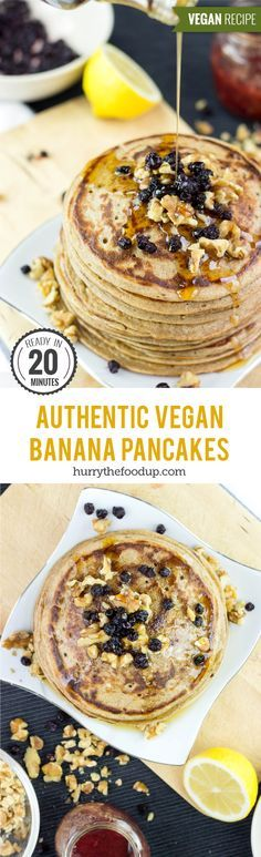 Authentic Vegan Banana Pancakes (20 Minutes)- I'm not vegan or vegetarian, but a friend of mine is and she made me these and they were so good