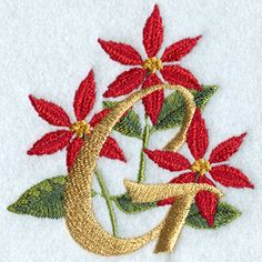 Poinsettia Letter G - 4 inch design (W5482) from www.Emblibrary.com