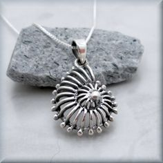 Nautilus Shell Necklace Seashell Pendant Sterling Silver Sea Shell Beach Ocean Jewelry (SN692)