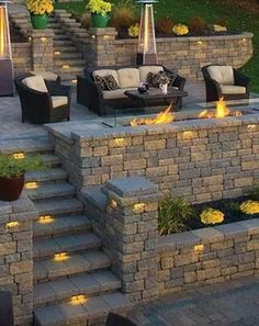 Have you just bought a new or planning to instal landscape lighting on the exsiting house? Are you looking for landscape lighting design ideas for inspiration? I have here expert landscape lighting design ideas you will love. Front Yard Design, Patio Design, Garden Design, Landscape Design, Tiered Landscape, Canada Landscape, Fire Pit Backyard, Backyard Patio, Backyard Seating