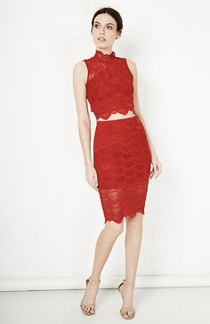 Nightcap Victorian Lace Pencil Skirt in Red 2 - 4 | DAILYLOOK