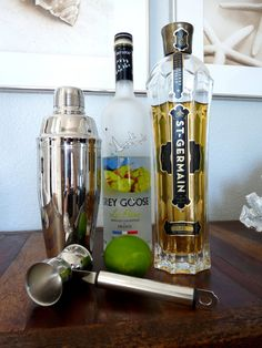 St. Germaine and pear martini. For 2 people just remember 4 shots Pear Vodka 3 shots St.Germaine 1 shot fresh lime juice