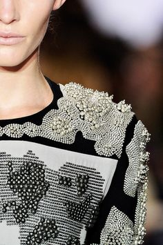 Decorative Metallics - silver rhinestones & beads - embellished surface patterns; fashion details