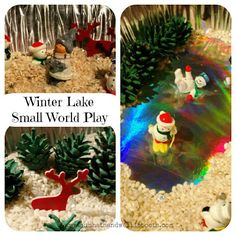 Christmas sensory play bin. They used a pie plate to make this winter play scene. I like the painted green pinecones.