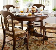 Pottery barn round dining table and chairs Shabby Chic Round Dining Table, Pedestal Dining Table, Extendable Dining Table, Dining Table Chairs, Small Dining, Dining Furniture, A Table, Nook Table, Tuscan Furniture