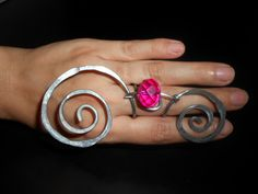 Hop pink glass bead - big hammered statement swirls ring - long fashion jewelry long swirls hot pink ring unique wire wrapped hammered
