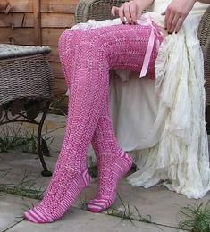 Ravelry: Ann Marie: Pink Ribbon Stockings pattern by Erssie Major - free knitting pattern Crochet Socks Pattern, Crochet Shoes, Knitting Patterns Free, Free Pattern, Free Knitting, Crochet Lace, Crochet Patterns, Thigh High Socks, Thigh Highs