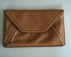 NEW Gorgeous j McLaughlin Textural Clutch leather in camel was $198, sale $98.00