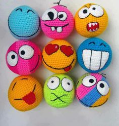 Inspiration... Crochet amigurumi smiley faces