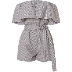 Aliyah Gingham Bardot Playsuit ($39) ❤ liked on Polyvore featuring jumpsuits, rompers, white rompers, white romper and playsuit romper