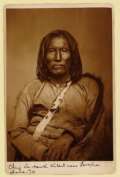 Sitting Bear (Setangya or Satank) - Kiowa: During his 60s, Satank led many raids on the early Texas settlers. Following the killing of seven teamsters during an 1871 raid on a wagon train in Texas, Satank was arrested at Fort Sill. While being escorted to trail in Texas, he was killed in a daring and defiant attempt to escape. Because of his mustache and chin whiskers, he was though to have Spanish blood.