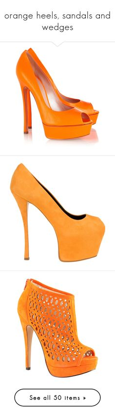 """""""orange heels, sandals and wedges"""" by lulucosby ❤ liked on Polyvore featuring shoes, pumps, heels, wide width pumps, wide heel pumps, wide shoes, leather pumps, slip-on shoes, giuseppe zanotti and scarpe"""