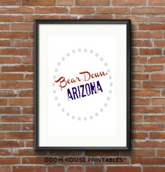 Bear Down Arizona Printable *INSTANT DOWNLOAD* University of Arizona Typography Print School Spirit Cardinal Navy Sports