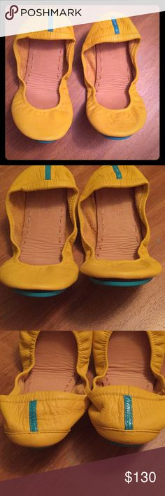Mustard yellow Tieks EUC size 8 Tieks, everything in last pic is included~ no flower Tieks Shoes Flats & Loafers