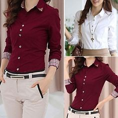 Duopindun@Ladies Korean Long Sleeve OL Shirt Collar Button Blouse Tops