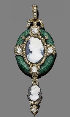 An enamel, diamond and hardstone cameo pendant, circa 1870. The oval hardstone cameo within a rose-cut diamond border, to a green guilloché enamel surround set with old brilliant and rose-cut diamond cartouches, suspending a cameo and similarly-cut diamond pendant, glazed compartment to the reverse, diamonds approx. 1.00ct total.