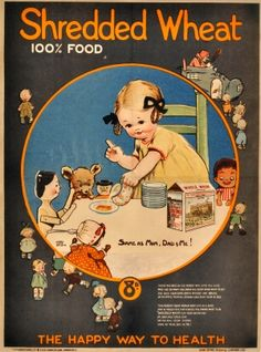 Shredded Wheat Mabel Lucie Attwell, 1910s - original vintage poster by Mabel Lucie Attwell listed on AntikBar.co.uk
