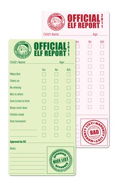 Magnolia Creative Co: official elf report, perfect for Elf on the Shelf! Thanks to Jill (original link wouldn't work so had to repin) There is a place to download printables under the description.