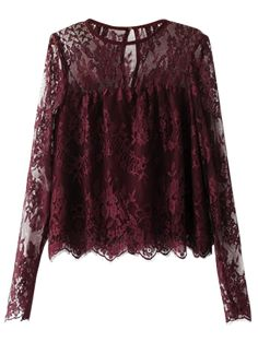 Shop Wine Red Keyhole Back Long Sleeve Lace Blouse online. SheIn offers Wine Red Keyhole Back Long Sleeve Lace Blouse & more to fit your fashionable needs. Cute Blouses, Shirt Blouses, Blouses For Women, Lace Shirts, Red Blouses, Sheer Blouse, Purple Blouse, Purple Lace, Red Lace
