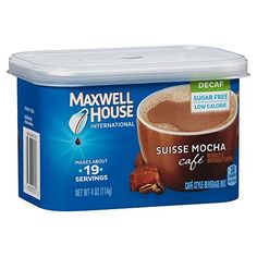 Maxwell House International Caf Flavored Instant Coffee Suisse Mocha Decaf Sugar Free 4 Ounce Canister Pack of 6 * Continue to the product at the image link. (This is an affiliate link) Coffee Mix, Mocha Coffee, Decaf Coffee, Coffee Creamer, Coffee Drinks, Coffee Cups, Chicago Coffee Shops, Café Espresso, Espresso Powder