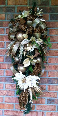 Christmas Swag with animal print ribbon by LisasLaurels on Etsy, $69.00