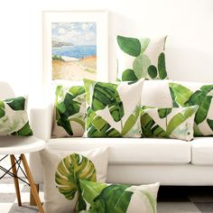 Cheap cushion cover manufacturers, Buy Quality cushion covers for chairs directly from China cushion decoration Suppliers:  New Vintage Pillow case Tropical Palm Ceriman Watercolor Green Leaf Cactus Home decorative Cushion Cover 45x45cm/