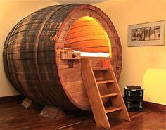 Stay in a historic beer barrel! ***THE BARREL*** The beer room arose in cooperation with our regional brewery - Potts. The barrel is from the Century and was in use until about One barrel can be rented as a double bed or a single bed. Casa Clean, Car Bed, Cool Beds, Man Cave, House Design, Interior Design, Design Art, Interior Decorating, Decorating Ideas