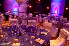 Purple, blue and white Indian wedding reception tables via IndianWeddingSite.com