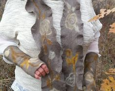 SALE of felted long SCARF or belt Rose Garden - fine merino wool - handmade- natural eco dyes - grey, yellow, mint, beige- ruffle shawl