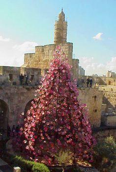 """Tower of David and Dale Chihuly """"Light of Jerusalem"""" sculpture, Jerusalem, Israel"""