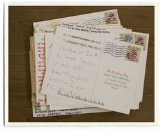 Love this - for their dad's 70th birthday they mailed stamped/addressed postcards to 70 of his friends/family members and asked them to write their funniest memory of him. he received the postcards all month long. so simple, so wonderful.