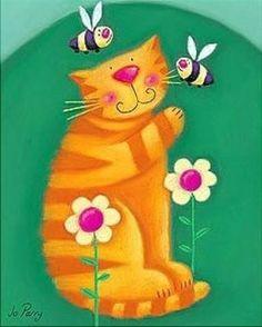 Gatos, cats, láminas, pintura, arte
